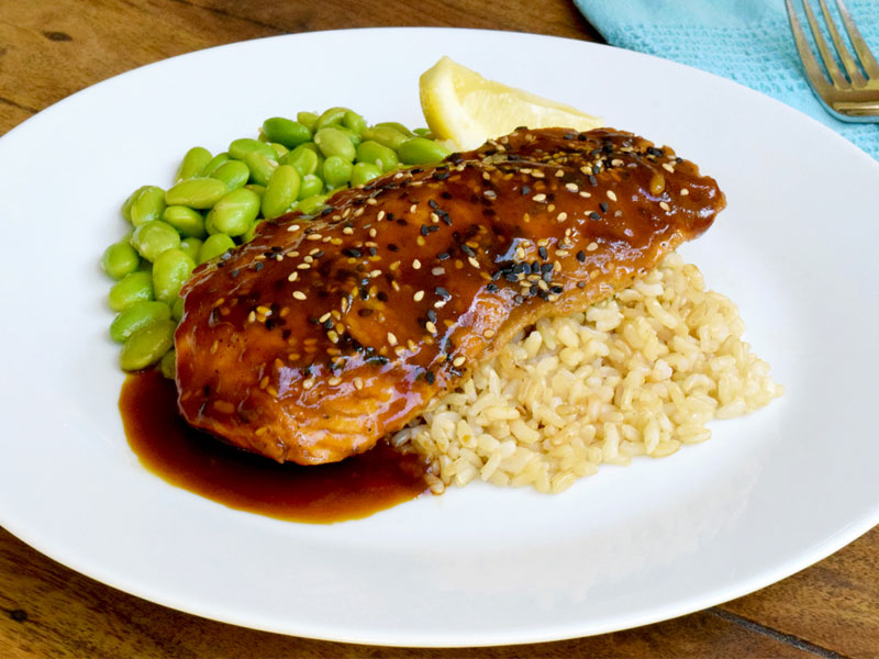 Teriyaki Salmon with Brown Rice and Edamame